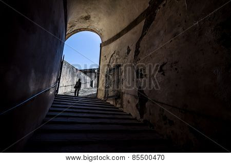 The Girl At The End Of The Tunnel With Stairway In Palazzo Pitti