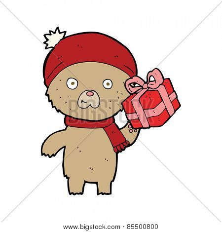 cartoon christmas teddy bear with present