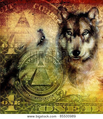 Howling Wolfs Airbrush Painting On Canvas Color Background  One Van Dollar Banknote