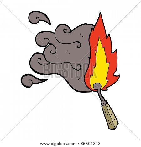 cartoon struck match burning