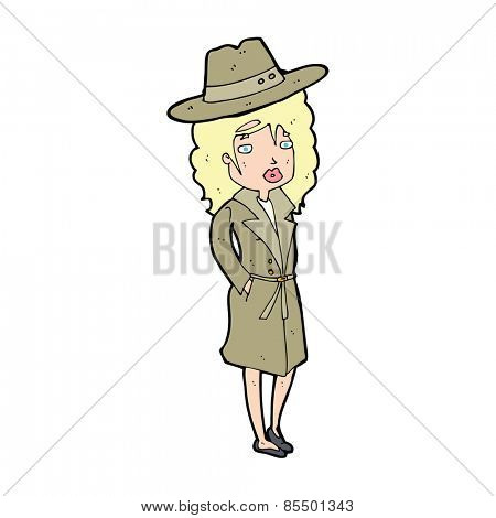 cartoon woman wearing sensible hat