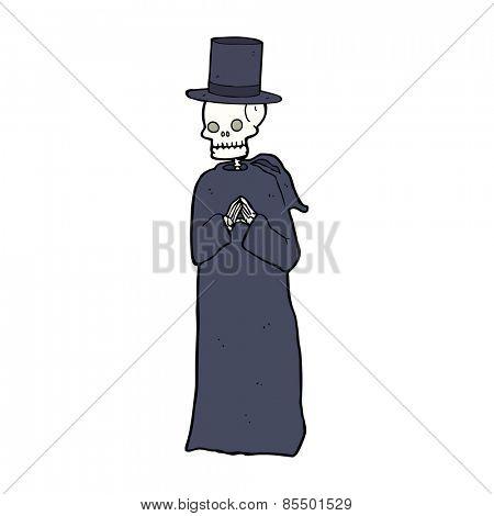 cartoon spooky skeleton wearing robe and top hat