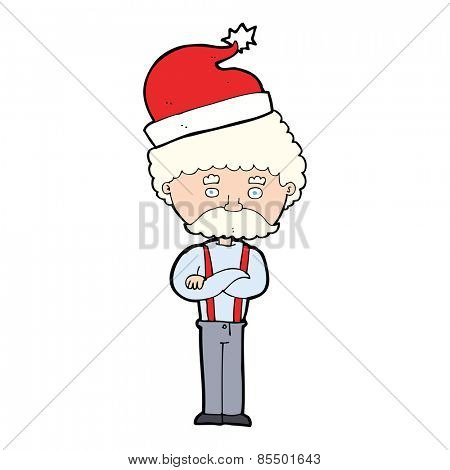 cartoon old man in christmas hat
