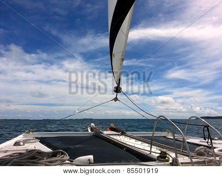 Sailing on a Catamaran on the Atlantic Ocean