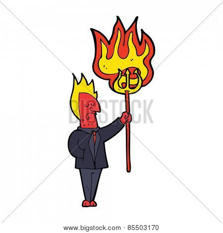 cartoon devil with flaming pitchfork