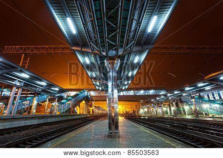 Railway Station At Night