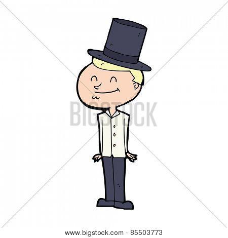 cartoon man wearing top hat