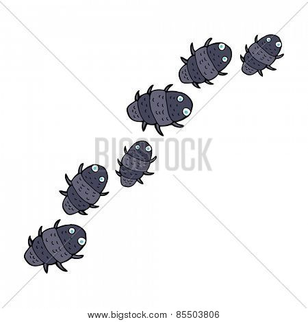 cartoon line of bugs
