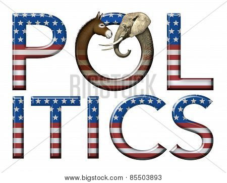 Politics Title Art with Flag, Elephant and Donkey