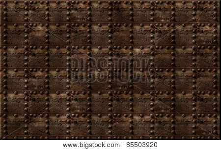 Rusty Riveted Metal Background Pattern