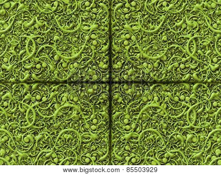 Abstract Scroll Green Background Pattern