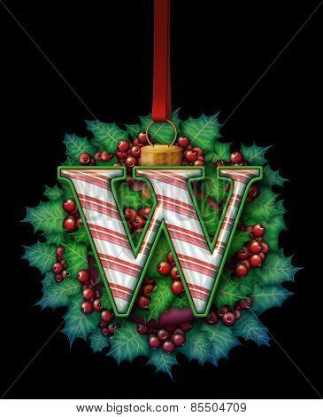 Christmas Holly Candy Cane Alphabet Ornament