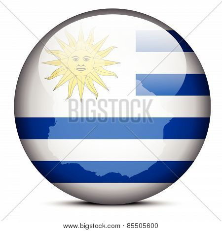 Map On Flag Button Of Eastern Republic Of Uruguay