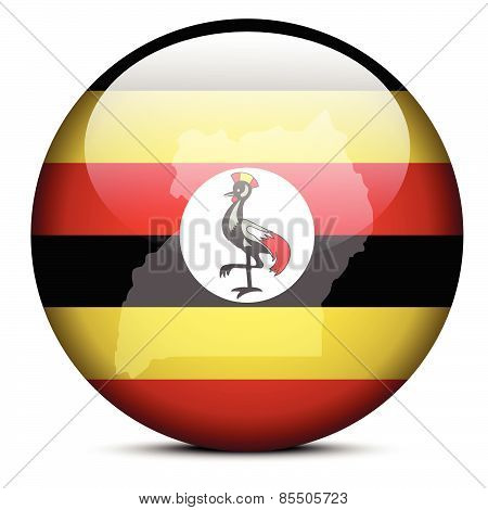 Map On Flag Button Of Republic Uganda