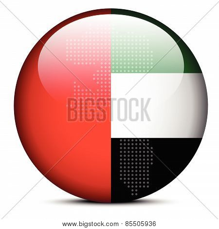 Map With Dot Pattern On Flag Button Of United Arab Emirates, Fujairah Emirate