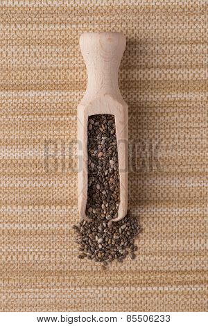 Wooden Scoop With Chia Seeds