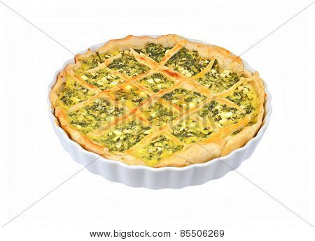 Pie with cheese and herbs