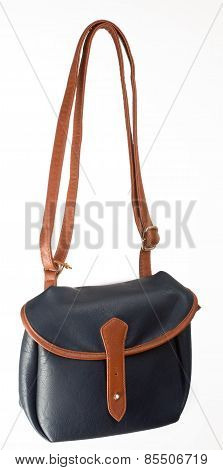 Black Leather Bag with one buckle and brown belt