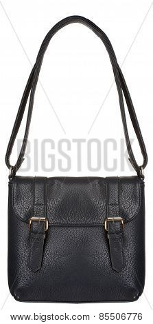 Black Leather Bag with two clasps