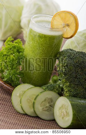 Kale, Cucumber,  And Broccoli Juice