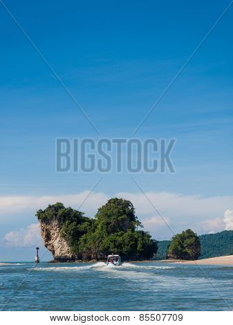 beautiful landscape with rocks and sea in Krabi. Thailand