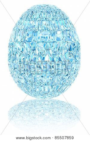 Light Blue Crystal Easter Egg On Glossy White