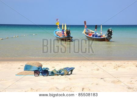 Straw hat on the beach of Phuket island, Thailand