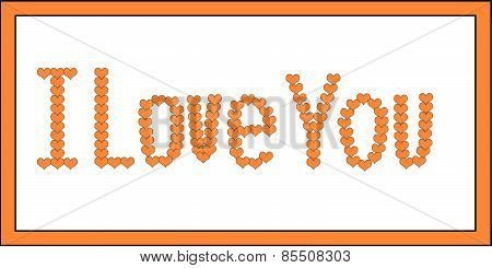 Orange I Love You Hearts on White