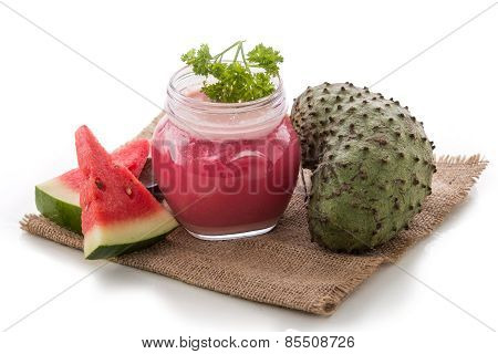 Watermelon And Soursop Mix Smoothie