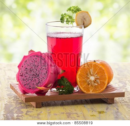 Red Dragon Fruit  And Orange Smoothie