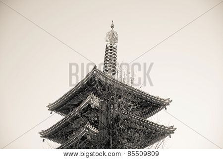 Shinto Pagoda  At Senjoji Temple In Japan Black And White