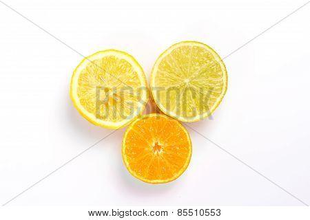 three slice lemon, lime and orange. isolated