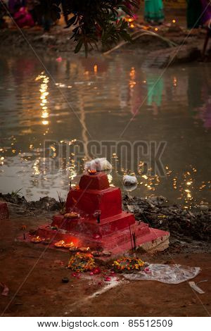 Small Indian temple at river side
