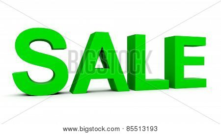 Sale - Green 3D Letters Isolated On White