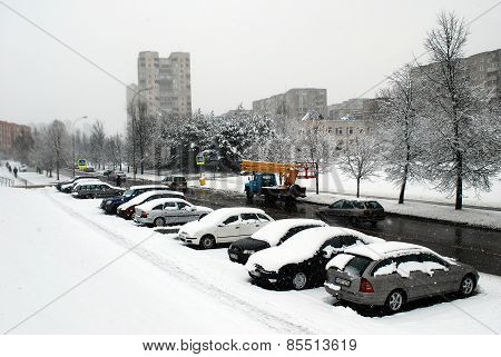 Winter Snowfall In Capital Of Lithuania Vilnius City Fabijoniskes District
