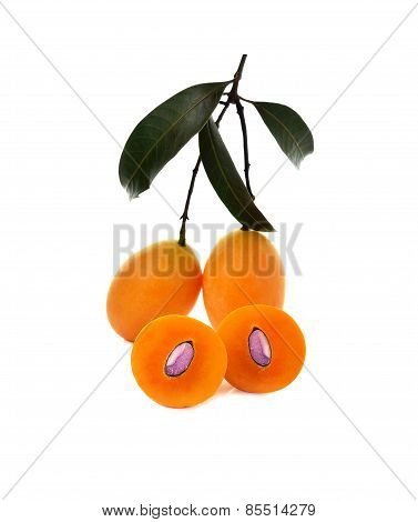 Fresh Marian Plum With Stem And Leaf Isolated On White Background