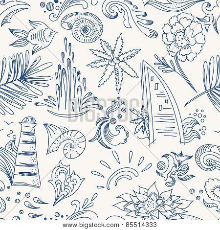 Sketch sea travel pattern