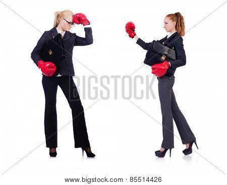Woman businesswoman with boxing gloves on white