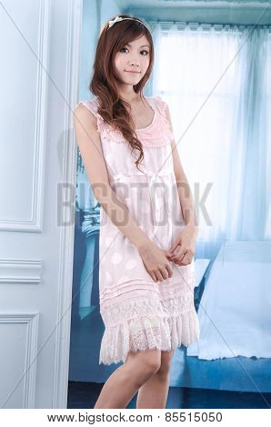 Female young model posing in studio-