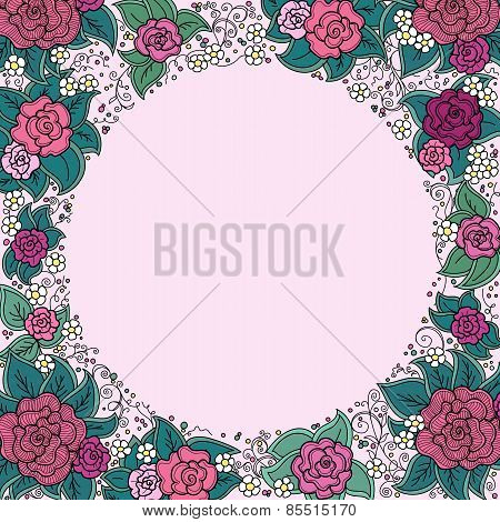 vector varicolored floral round ornamental frame