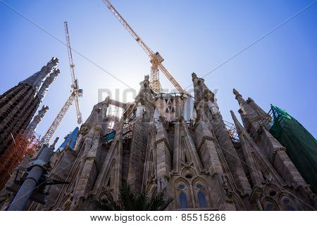 Spain, Barcelona, July, 2014, Sagrada Familia Roman Catholic Cathedral By Gaudi