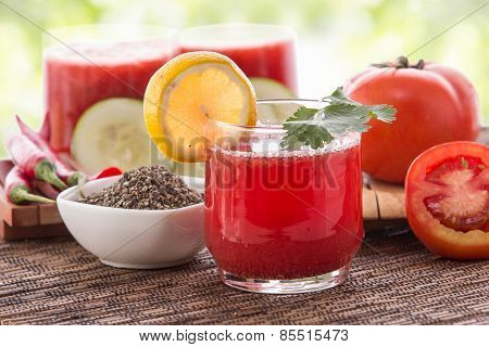 Red Vegetables And Herbs Smoothie
