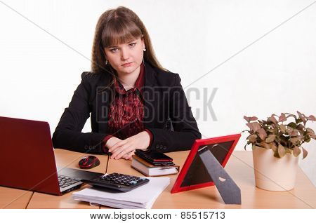 Sad Girl Sitting At Office Desk