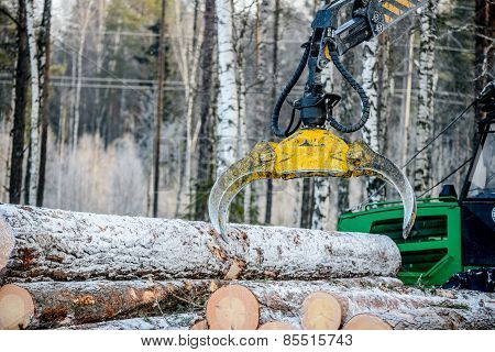 Captures A Timber Loader  , Stack Of Log
