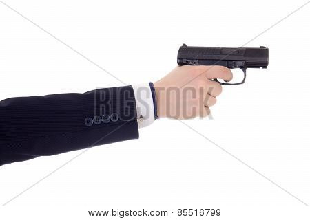 Male Hand In Business Suit Holding Gun Isolated On White