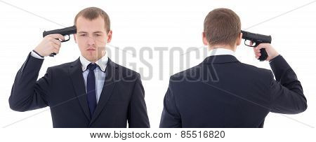 Front And Back View Of Business Man With Gun Trying To Make Suicide Isolated On White