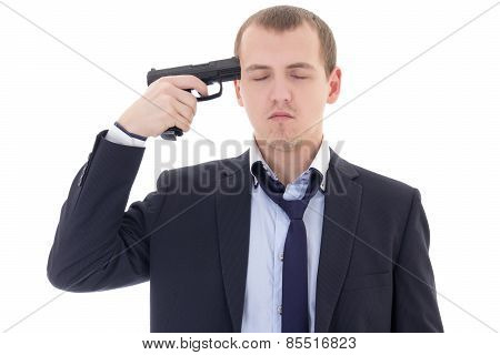 Young Man In Business Suit With Gun Trying To Make Suicide Isolated On White