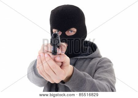Burglar Or Terrorist In Mask Shooting With Gun Isolated On White