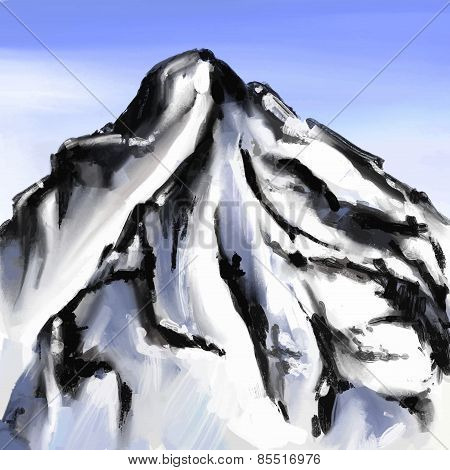 Mount landscape drawing brush strokes vector illustration