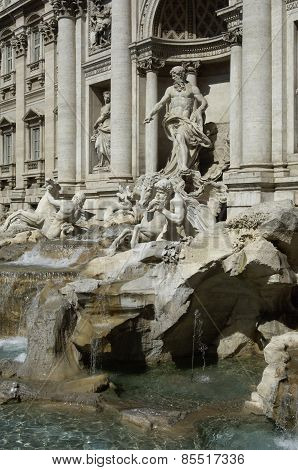 The Famous Trevi Fountain Or Fontana Di Trevi In Rome